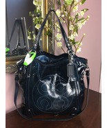 Coach Bag Audrey Navy Blue Patent Leather Andie Cinched Shoulder Tote 17... - $123.74
