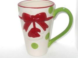 Santa Hat  and Polka Dot Christmas Coffee or Cocoa Mug   - $15.60