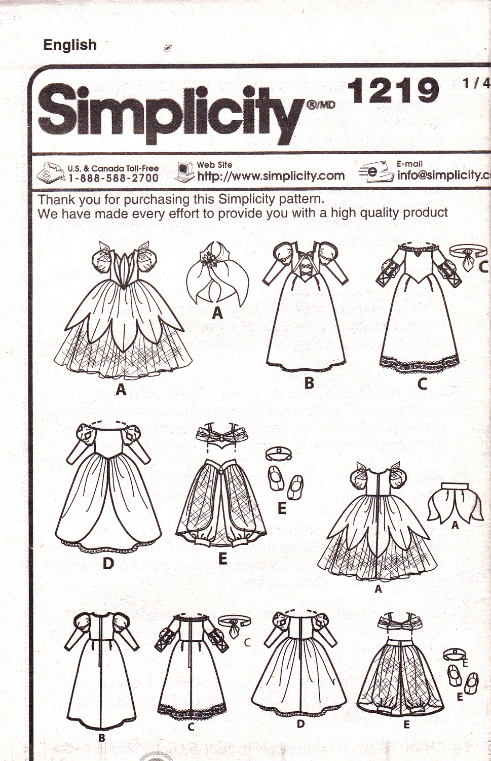 "Simplicity 1219 Crafts 18"" Doll Clothes Sewing Pattern Disney Princess Dresses"