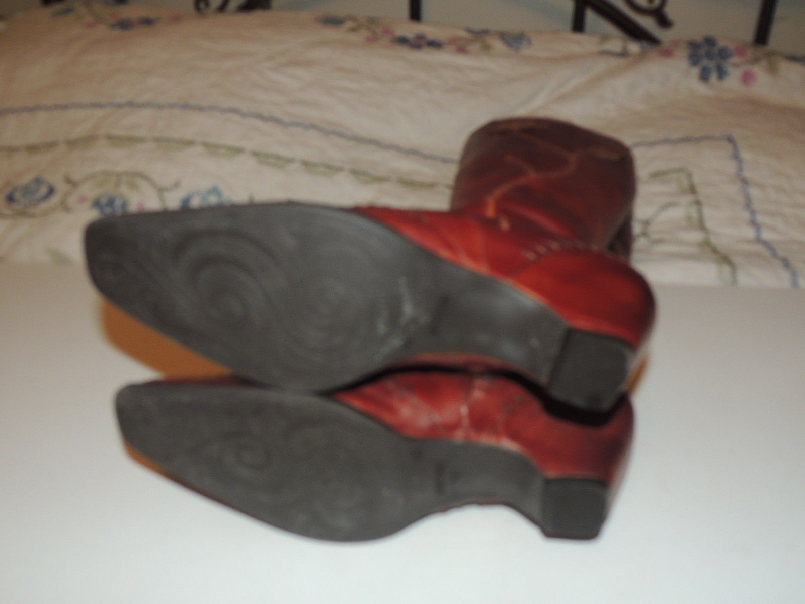 Gorgeous PIKOLINOS Brown Leather Tall Boots w Zipper Flower Size 40 8.5 EUC image 6