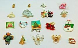 Vintage Lot of 18 Christmas Lapel Pins Brooches Seasonal Holiday Variety... - $9.49