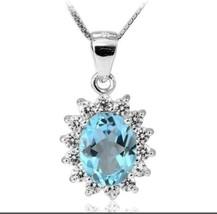 925 Sterling Silver Natural Blue Topaz Halo Pendant Necklace - $34.60