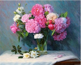 "Peony Flower 16X20"" Paint By Number Kit DIY Acrylic Painting on Canvas F... - $8.90"