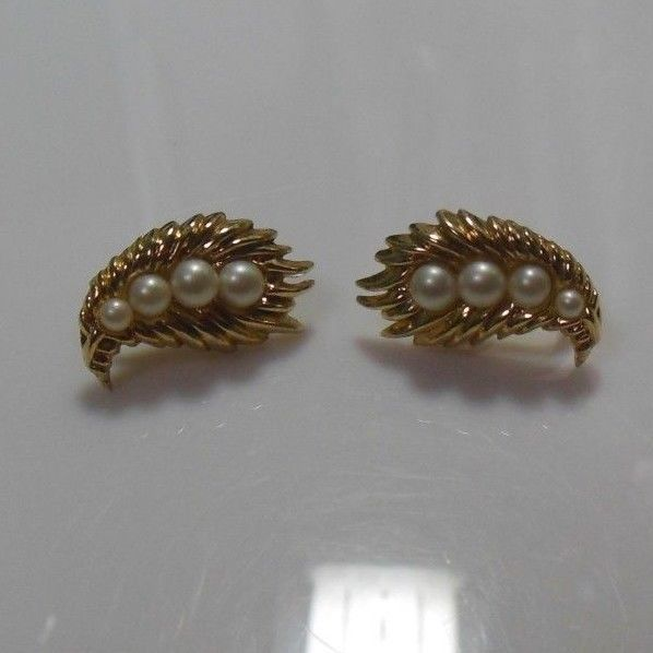 Signed Crown Trifari Textured Leaf Faux Pearl Clip-on Earrings