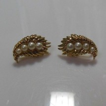 Signed Crown Trifari Textured Leaf Faux Pearl Clip-on Earrings - $34.65