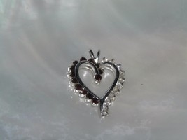 Estate SIlvertone Open Swirl HEART with Red & White Rhinestones Pendant ... - $8.59