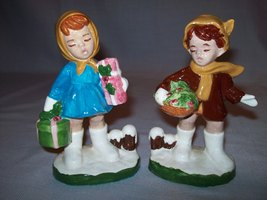 Vintage Hummel Look A Like Boy With Basket Girl With Basket 1986 - $9.95