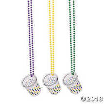 Mardi Gras Plastic Shot Glass Beaded Necklaces  - $10.36