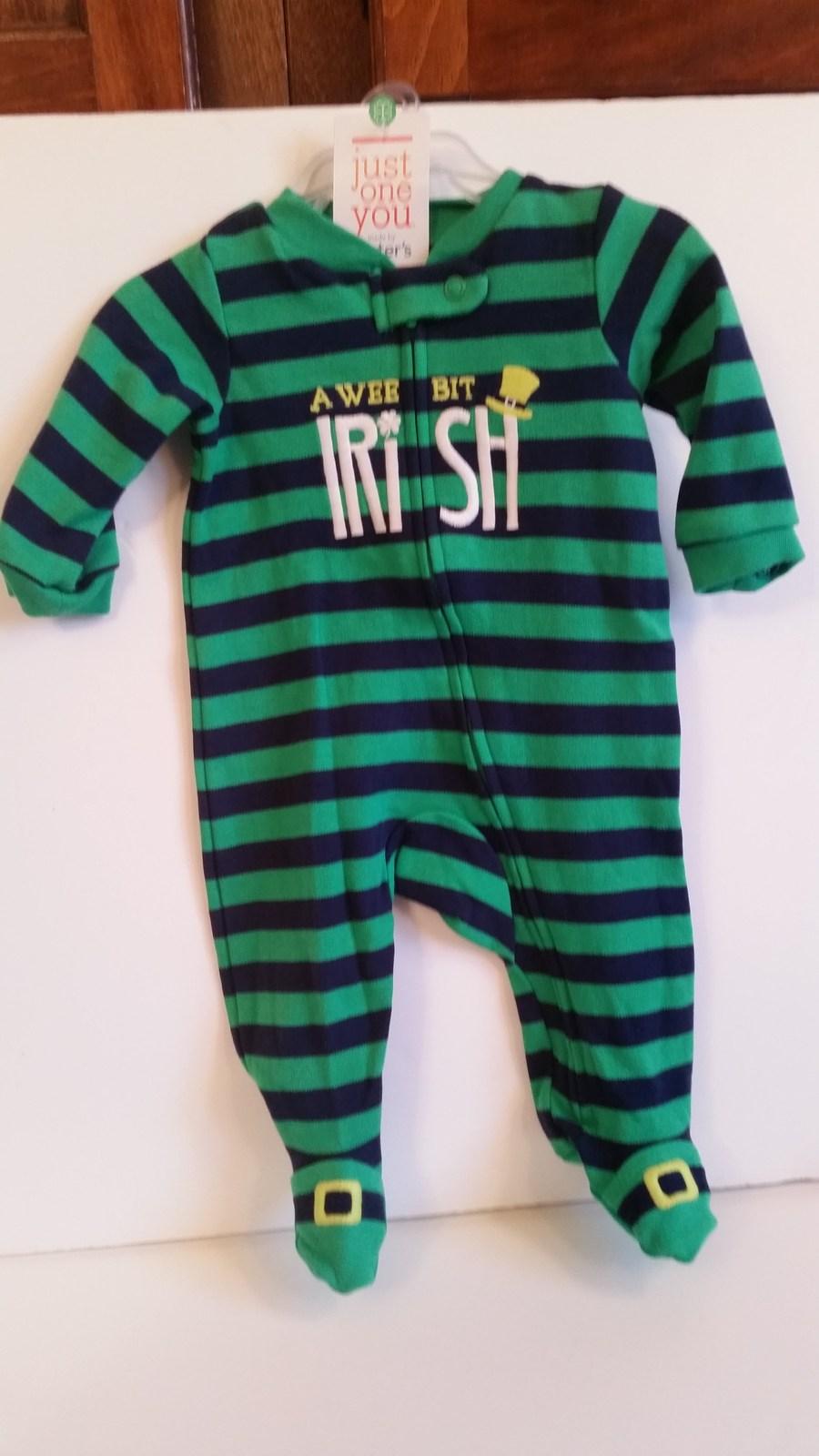 Carters Sleeper night gowns Infant Sz NB Newborn cotton Wee Bit Irish Baby New - $7.99