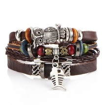 IF YOU Puck Feather Multilayer Leather Bracelet Men Bohemia Charm Eye Fi... - $20.36