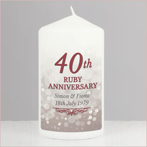 Personalised 40th Ruby Anniversary Pillar Candle made to order
