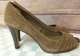 Franco Sarto Victor Womens 8.5 Suede Open Toe High Heels Shoes Brown Chi... - $25.73