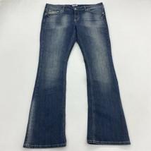 Mudd Denim Jeans Juniors 17 Blue Bootcut Leg Low Rise Embellished Pocket... - $18.95