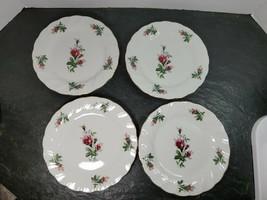 "Set Of 4 Lynns Fine China Victorian Rose Swirl 7.5"" Salad Dessert Plates - $39.59"