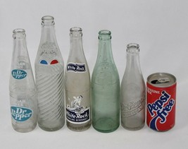 Lot of 6 Vintage Soda Pop Glass Bottles & Can - Dr. Pepper, Double / RC ... - $42.07