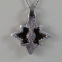 .925 SILVER RHODIUM NECKLACE WITH GLOSSY AND SATIN PENDANT. image 3