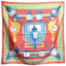 Vintage Hermes large carre twill silk scarf in light brick red, blue, and gold.  - $212.00