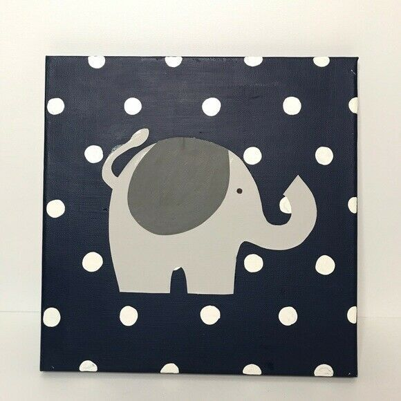 Primary image for Elephant Canvas Wall Hanging Polka Dots Nursery Baby Newborn Decor