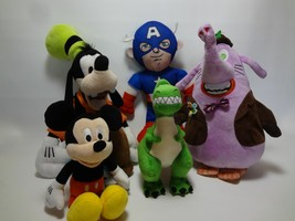 Disney Plush Lot Mickey Goofy Captain America Rex  - $24.20