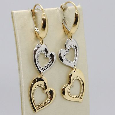 EARRINGS YELLOW AND WHITE GOLD 750 18K WITH DOUBLE HEARTS WORKED MADE IN ITALY