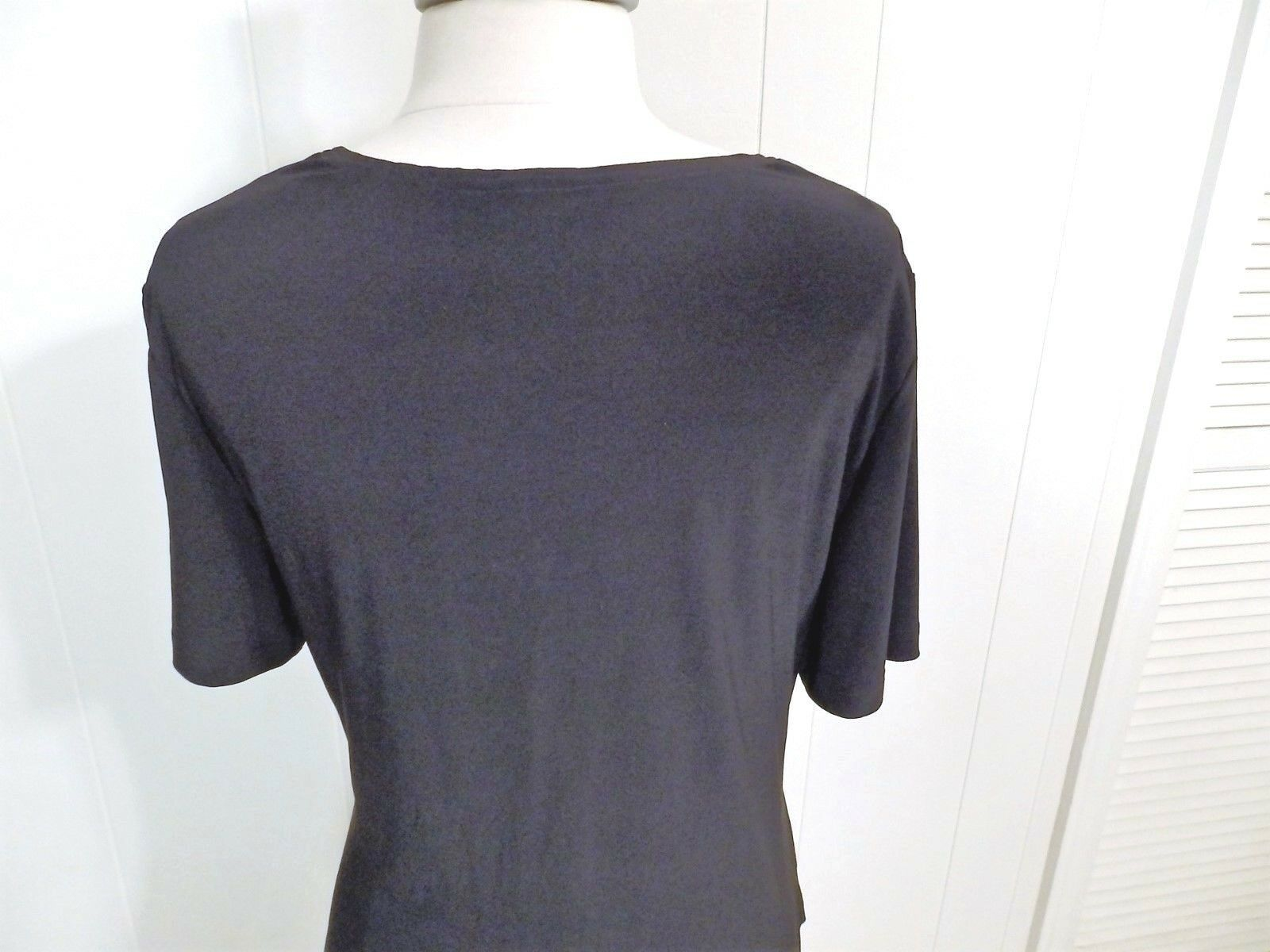 L XL 14 16 Top Blouse Shirt Pullove Women Sleev Solid Stretch Black Multi Career