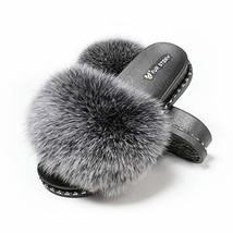 Fur Story Women's Fox Fur Slides Furry Slide Sandal 8,Silvery Black,Rivet - $48.65
