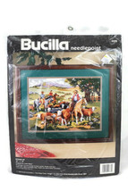 Bucilla Needlepoint Kit Round Up Horse Cowboy Western Cattle Drive 16 x ... - $32.17