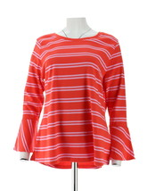 Isaac Mizrahi Scoop Neck Striped Top Bell Slvs Sunset Coral M NEW A301942 - $25.72