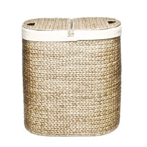 Laundry Double Hamper Hand-Woven Storage Container Sorter w/ Cover Dorm ... - $90.19