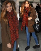ZARA RED CHECK BLOGGERS CELEBRITY WOOL KNIT SCA... - $54.40