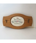 Home is Where the Heart is Finished and Framed Cross Stitch Hat Key Rack - $24.18