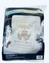 Bucilla Baby Noah's Ark Crib Cover Stamped Cross Stitch Vintage New Old Stock - $38.61