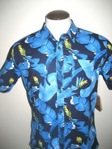 Vans Shoes Mens Bonsai button front SS 1 Pocket Shirt Blue Tropical Floral NWT - $29.74