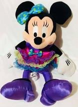 Minnie Mouse Frilly Ribbon Purple Yellow Blue Dress Disney Parks Plush T... - $21.31