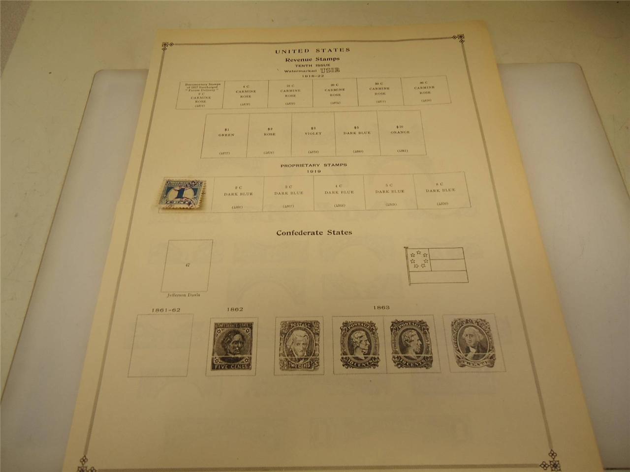Vintage USA 1919 1 cent Blue Proprietary Stamp - On Page