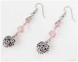 Long Heart Earrings, Pink Glass Beads, Surgical Steel Hooks - Sweet Loli... - $12.00