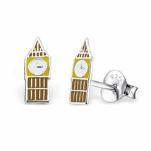 Sterling Silver Clock Tower Stud Earrings - $11.00