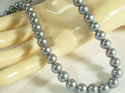 KYSKA Steel Grey Faux Pearls Choker Necklace Vintage Pearly Gray Office Career image 7