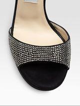 JIMMY CHOO Lancer Crystal-Embellished Suede Sandals (Size 37) image 3