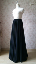 Women Black Chiffon Maxi Skirt Slit Black Silk Chiffon Maxi Skirt with Split image 3