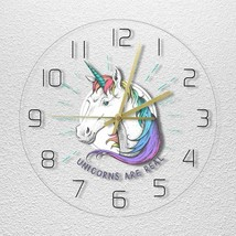 12in Unicorn Kids Wall Clock Magical Rainbow Children Gift Colourful Roo... - $47.70+