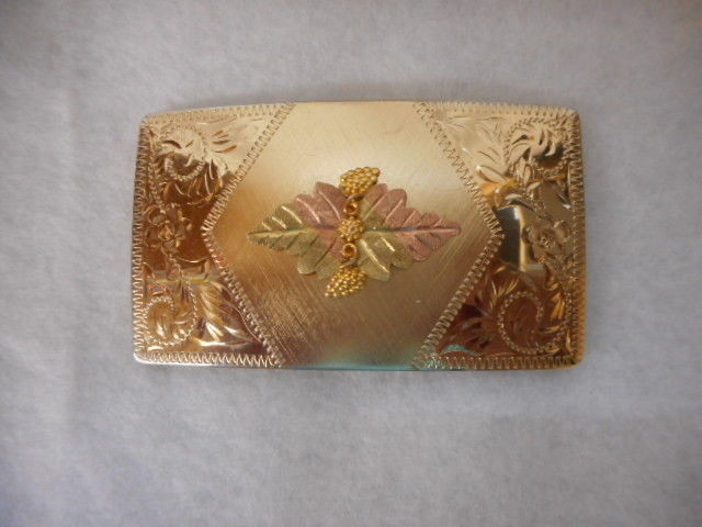 LANDSTROM'S 10K BLACK HILLS GOLD Tri-Colored TRIM  WOMENS ESTATE BELT BUCKLE