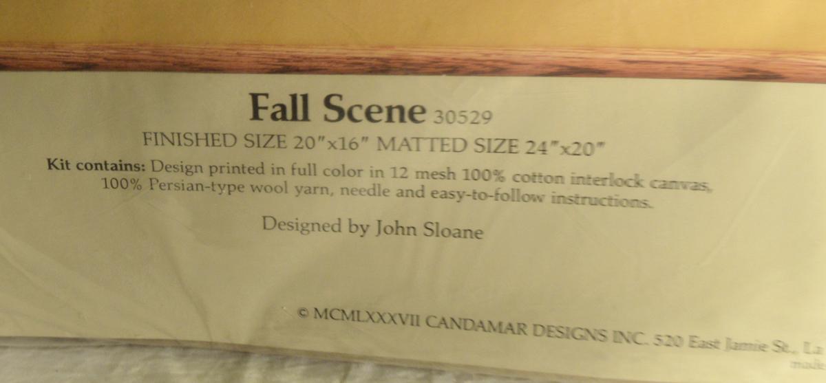 #3032 RARE 1987 Candamar Something Special Needlepoint Kit-Fall Scene 30529-John