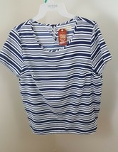 NWT FADED GLORY SZ XL  BLUE STRIPE BLOUSE TOP SHORT SLEEVE Pullover - $3.04