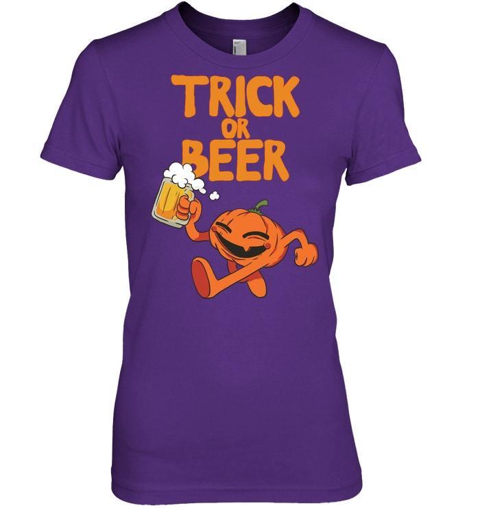 Funny Halloween Tshirt Jack O Lantern Trick Or Beer