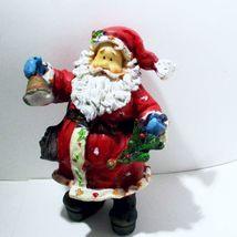 Santa Figure Ringing Bell, Holding Tiny Christmas Tree - $5.59