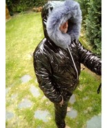 Male Ski Suit Shine Nylon Wet Leather Look Overall Snowsuit Winter Black... - $279.00