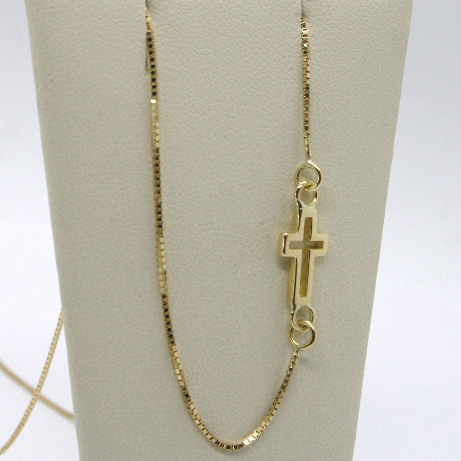 SOLID 18K YELLOW GOLD NECKLACE, VENETIAN CHAIN, SQUARE CROSS, 38 CM, ITALY MADE