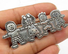 EFS MEXICO 925 Silver - Vintage Cute Children Playing Brooch Pin - BP1869 - $37.65