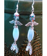 Wire Wrap Angel Earrings w/ Opalescent Glass Beads / Sterling Ear Wires - $20.00